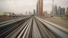 Modern Driverless Dubai Elevated Rail Metro System, UAE, T/Lapse - stock footage