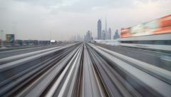 Modern Driverless Dubai Elevated Rail Metro System, UAE, Stock Footage