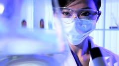 Research Laboratory Assistant in Close up Stock Footage