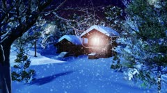 Christmas Snowy Scene dolly 01 snowing neutral Stock Footage