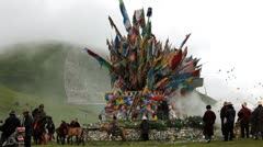 Wind Horse prayer flags nr local horse festival, Daofu, China Stock Footage