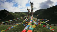Wind Horse of buddhist prayer flags, Sichuan, China Stock Footage