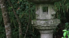 Japanese Stone Lantern Architecture Structure in Fall Stock Footage