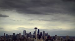 Seattle Space Needle Clouds Time Lapse Timelapse Stock Footage
