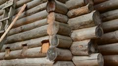 0193 medieval wooden castle restoration Stock Footage