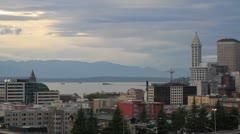 Sunset at Seattle from Dr Jose Rizal Bridge in Washington State Stock Footage