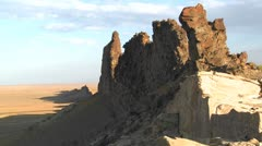 Rocky outcroppings near Shiprock, New Mexico. - stock footage