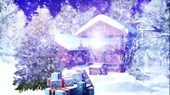 Christmas Snowy Scene dolly 09 snowing Stock Footage