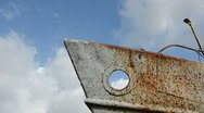 0211 old rusted ship  and sky clouds fly Stock Footage