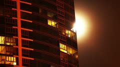 Full Moon Apartment Time Lapse  Stock Footage