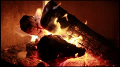Wood Log Burning Campfire Stock Footage
