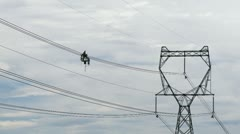 Power line worker Stock Footage