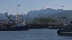 Blue Alaskan Fishing Vessel Moving in Harbor 2 Stock Footage