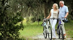 Healthy Cycling Exercise for Seniors - stock footage