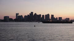 Boston harbor and skyline from airport Stock Footage