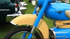 Classic Motor Cycle at Concours d'Elegance Stock Footage