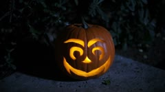 Flickering Jack-O-Lantern Stock Footage