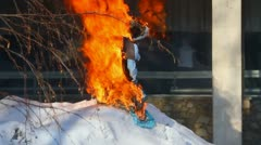 Farewell to winter in Russia. Burning effigies of Carnival Stock Footage