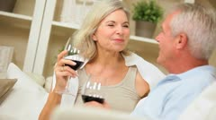 Attractive Mature Couple Drinking Red Wine Stock Footage