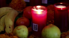 Candles and Fruits Stock Footage