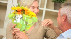 Attractive Lady Surprised with Fresh Flowers - stock footage