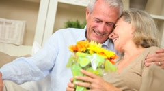 Mature Female with Flowers from Husband - stock footage