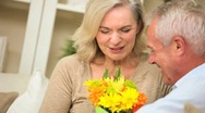 Mature Female with Birthday Flowers Stock Footage