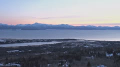 Homer and Spit Overlook pan after Sunset Stock Footage