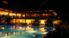 Five stars holiday resort at night - stock footage
