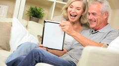 Mature Caucasian Couple Talking Via Online Webchat - stock footage