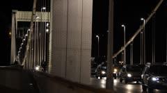 Budapest by Night 02 Elizabeth Bridge Stock Footage