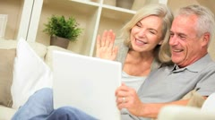 Mature Couple Using Laptop Online Web Chat Stock Footage