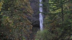 Latourell Falls in Portland Oregon in Colorful Fall Season Stock Footage