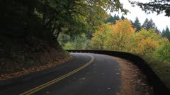 Historic Hwy 30 in Portland Oregon in Fall Colors Stock Footage