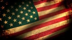 American Flag Waving, grunge look - stock footage