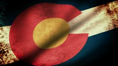 Colorado State Flag Waving, grunge look Stock Footage