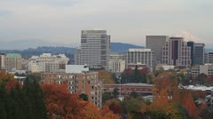 Portland Oregon Downtown Cityscape in Colorful Autumn Season Stock Footage