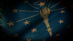 Indiana State Flag Waving, grunge look Stock Footage