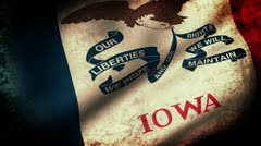 Iowa state Flag Waving, grunge look Stock Footage