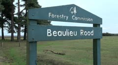 Beaulieu Road Sign in the New Forest Stock Footage