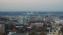Fremont Bridge and Portland Oregon Skyline in Fall Season Stock Footage