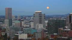 Moonrise Portland Oregon Downtown Cityscape in Colorful Fall Season Stock Footage