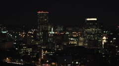 Moonrise Over Portland Oregon Cityscape at Night Stock Footage