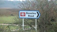 Beaulieu Road Railway Sign Stock Footage