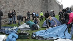 Protesters pitch tents Occupy Cardiff Stock Footage