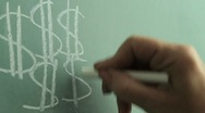 Stock Video Footage of Writing dollars signs