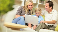 Caucasian Family Talking Via Online Web Chat Stock Footage