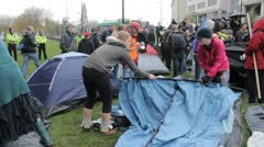 Protesters pitch tents (8205) Stock Footage