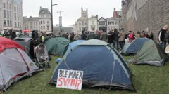 Occupy Cardiff tents Stock Footage