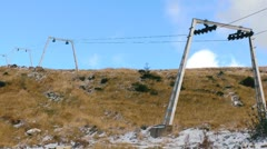 Stopped ski lift zoom Stock Footage